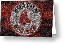 Boston Red Sox Bottle Cap Mosaic Greeting Card