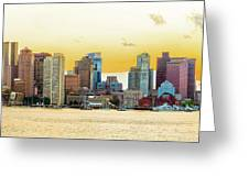 Boston Skyline Abstract Greeting Card