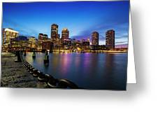 Boston Skyline At Dusk Greeting Card