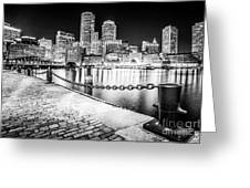 Boston Skyline At Night Black And White Picture Greeting Card