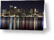 Boston Skyline At Night Greeting Card