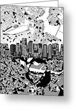 Boston Skyline Black And White Greeting Card