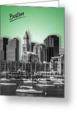 Boston Skyline - Graphic Art - Green Greeting Card