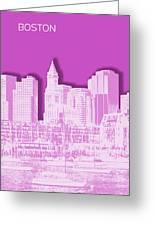 Boston Skyline - Graphic Art - Pink Greeting Card