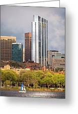 Boston Skyline Skyscraper Boston Ma Charles River Greeting Card
