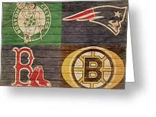 Boston Sports Teams Barn Door Greeting Card