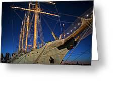 Boston Tall Ship Flags Boston Ma Sailors Blue Sky Greeting Card