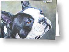 boston Terrier butterfly Greeting Card by Lee Ann Shepard