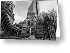 Boston Trinity Church And Hancock Building Boston Ma Black And White Greeting Card