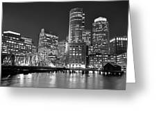 Boston Waterfront Black And White Greeting Card