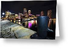 Boston Waterfront Skyline View Boston Ma Greeting Card