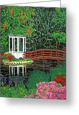 Botanical Garden Park Walk Pink Azaleas Bridge Gazebo Flowering Trees Pond Greeting Card