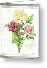 Botanical Vintage Style Watercolor Floral 3 - Peony Tulip And Rose With Butterfly Greeting Card