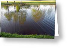 Grass On Both Sides With Water Between Greeting Card