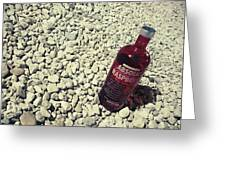 Bottle And The Beach  Greeting Card
