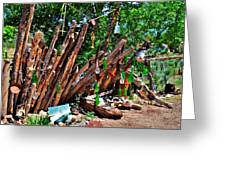 Bottle Fence In Golden New Mexico Greeting Card