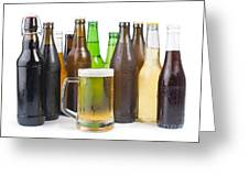 Bottles Of Beer And Beer Mug.  Greeting Card