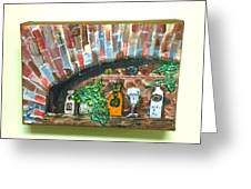 Bottles On A Brick Ledge Greeting Card