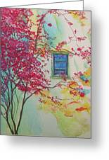 Bouganvilla And Blue Shutter Greeting Card