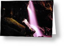 Boulder Cave Falls From The Side  Greeting Card