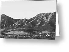 Boulder Colorado Flatirons And Cu Campus Panorama Bw Greeting Card