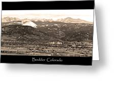 Boulder Colorado Sepia Panorama Poster Print Greeting Card