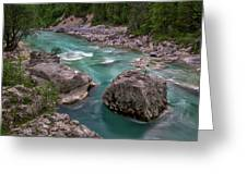 Boulder In The River - Slovenia Greeting Card