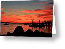Rock Sunset Silhouette Greeting Card