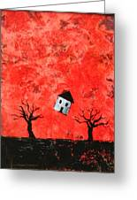 Bouncing House Fiery Sky Greeting Card