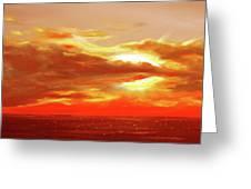 Bound Of Glory - Red Panoramic Sunset  Greeting Card