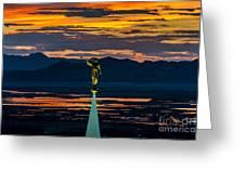 Bountiful Sunset - Moroni Statue - Utah Greeting Card