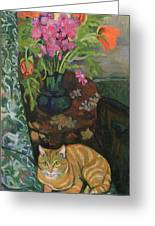 Bouquet And A Cat Greeting Card