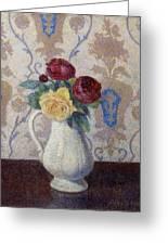 Bouquet De Roses Dans Un Vase 1885 Greeting Card