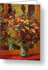 Bouquet In Front Of A Mirror 1877 Greeting Card