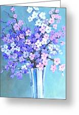 Bouquet In Silver Vase Greeting Card