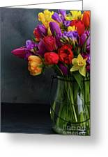 Spring Flowers In Vase Greeting Card