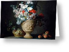 Bouquet Of Flowers In A Terracotta Vase With Peaches And Grapes Greeting Card