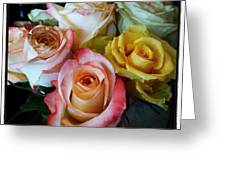 Bouquet Of Mature Roses At The Counter Greeting Card