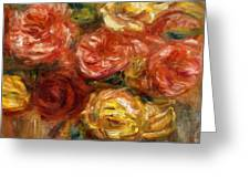 Bouquet Of Roses In A Vase 1900 Greeting Card