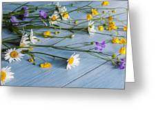 Bouquet Of Wild Flowers On A Wooden Greeting Card