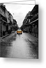 Bourbon Street Taxi French Quarter New Orleans Color Splash Black And White Watercolor Digital Art Greeting Card