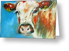 Bovine On Blue  Greeting Card