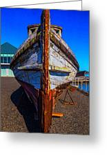 Bow Of Old Worn Boat Greeting Card