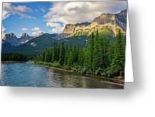 Bow River And Three Sisters Canmore Greeting Card