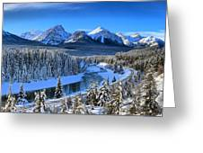 Bow River Parkway Blue Skies Greeting Card