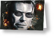 Bowie With Glasses Greeting Card