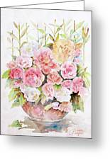 Bowl Full Of Roses Greeting Card