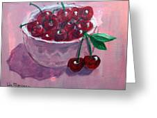 Bowl Of Cherries Greeting Card