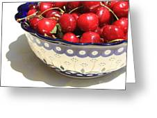 Bowl Of Cherries With Shadow Greeting Card