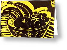 Bowl Of Fruit Black On Yellow Greeting Card